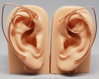 Copper Elf Ear Cuffs, Elf Ear Wrap - PAIR - Fantasy and Cosplay Accessories