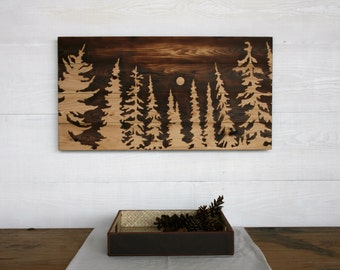 Large Wood Burned Wall Art  - In the Light of the Moon -  32 X 16 inches