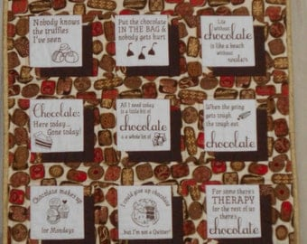 CHOCOLATE is My PASSION WALLHANGING approx 24 x 34 Shadow Box Design with 12 Chocolate funnies.  Rod pocket sewn on back. Quiltsy Handmade