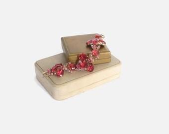 Vintage 60s RHINESTONE BRACELET / 1960s Wide Red Pink Rhinestone Gold Chunky Statement Bracelet