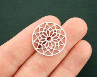 6 Mandala Connector Charms Silver Tone - SC6726