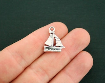 8 Sailboat Charms Antique Silver Tone 2 Sided - SC2668