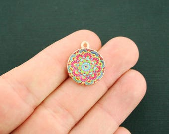 4 Mandala Charms Gold Tone With Glass - Stunning Colors - GC1171
