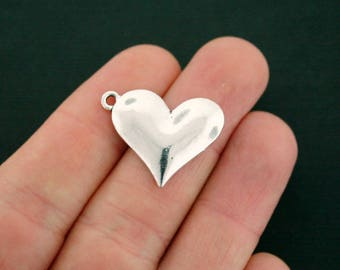 4 Heart Charms Antique Silver Tone Simply Lovely - SC7066 NEW6
