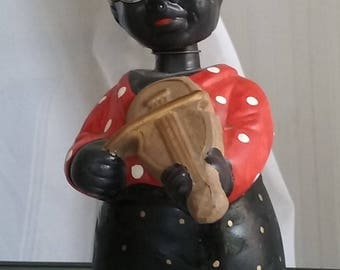 Black Americana Nodder Bobble Head Bank, Vintage Toy, Grandmother with Fiddle, Violin, Made in China, Ceramic Bobblehead Toy