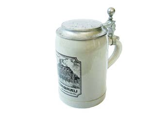German Stoneware Beer Stein Ceramic Mug Drinking Tankard Glammhaus MAYERBRAU das charaktervolle Bier Branded Beer - Barware - Man Cave Decor