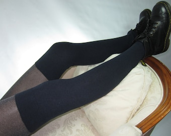 Thigh High Socks Over the Knee Leg Warmers Footless Boot Socks Marine Navy Blue Extra Tall A587