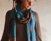 Turquoise Shapes of Silk - Handwoven Raw Silk Everyday Luxury Scarf - Everyone Scarf