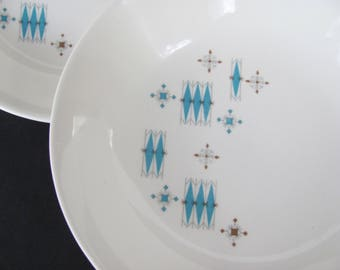 Vintage Bowls Mid Century 1950s Atomic Retro Turquoise and White Salad Bowls