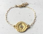 Golden Eye || Protective Eye Bracelet || Third Eye || Evil Eye || Dainty Bracelet