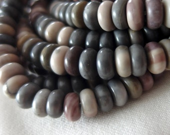 "8mm Blue, Mauve, Gray, Stone Rondelle Beads, 15.5"" strand, 95 beads"
