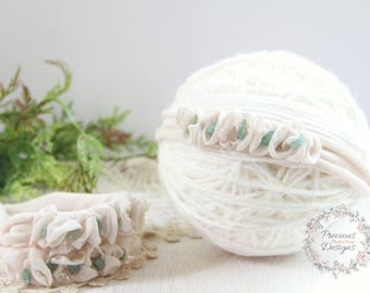 Newborn Tieback, Newborn Headband - Floral Crown, Vintage Inspired Tieback, Beige Natural Sage Green, Baby Girl Photo Prop, Newborn Halo