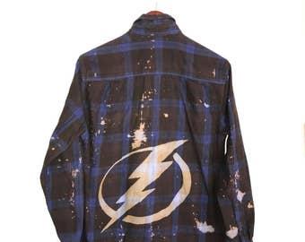 Lightning Flannel Shirt in Blue Plaid. Tampa bay hockey logo NHL bolts bolt bleached acid wash splatter ooak jersey unisex hipster grunge