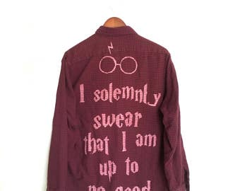 "Harry Potter Shirt ""I solemnly swear that I am up to no good"", Burgundy Black Flannel. Mischief managed fantastic beasts lightning bolt ooak"