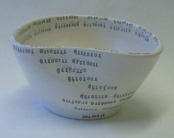 Binary Tears in Rain Porcelain Freeform Bowl