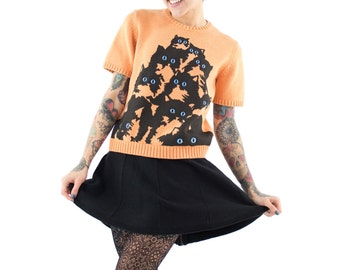 Short Sleeve Crazy Kitty Sweater