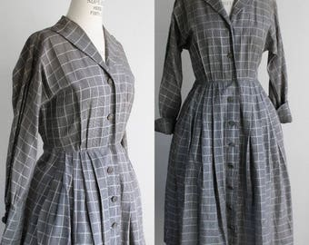 Vintage 1950s Shirtwaist Checked Dress / 50s Fit and Flare Dress With Pockets/ Nelson-Caine / Black and White Checkered / Cuffed Sleeves