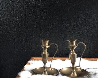 vintage solid brass candlestick holders / wide base / set of 2