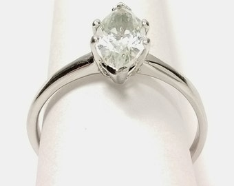Vintage Sterling Silver Solitaire Marquise Cut Crystal Clear Quartz Gemstone Women's Ring Size 8.5
