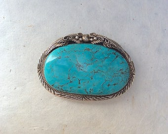 Vintage Style Turquoise Stone Belt Buckle | Large Turquoise Buckle | Sterling Silver | Native American | Hand Crafted, Boho