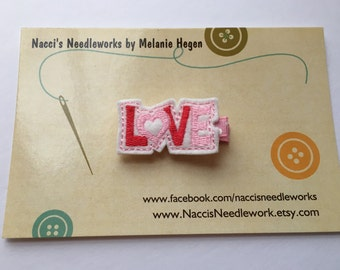 Valentine's Hair Clip- Love Felt Appliqué Hair Accessory- Red and Pink Love Hair Clip on Light Pink with White Dot Ribbon Lined Clip