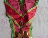 Delicieux antique French silk and gold wire passementerie trim sash with medallion circa 1890