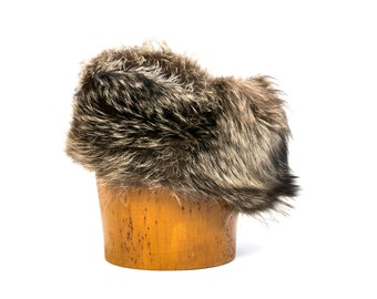 Vintage 1970's Racoon Fur Hat Women's Retro Winter Accessories