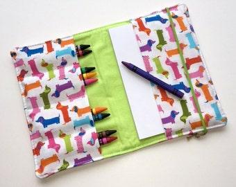 Crayon Wallet - Mini Dogs Bright. Art Kit, Kids Organizer, Kids Party Favor, Travel Toy