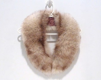 Fur Collar Vintage Brown Fluffy Two Tone Real Fur Upcycled Coat Collar 1960s Fur Accessory Sweater Neckwear Accent  Crafting Sewing Project