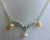 Celtic Design Pearl and Swarovski Crystal Necklace