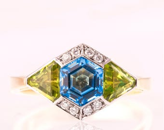 Art Deco Three Stone Ring, Art Deco Engagement Ring, Statement ring, Topaz Diamond Ring, Peridot Ring, Triangle ring, Hexagon Ring