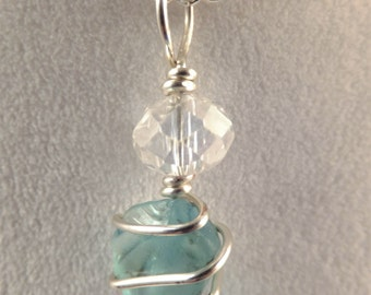 Aqua blue sea glass with crystal rondelle pendant on silver plated chain