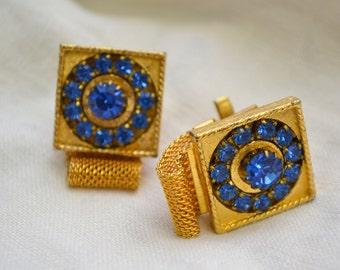 1960s Blue Rhinestone Cuff Links