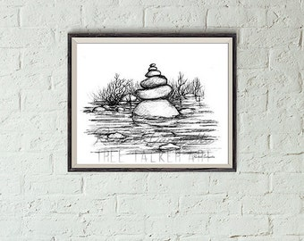Rock Tower Illustration- Giclee Fine Art Print - Pen and Ink Illustration - Rock Tower lllustration - Artist Rachael Caringella