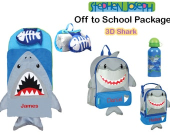 """Personalized """"Off to School"""" 4-Piece 3D Shark Package by Stephen Joseph"""