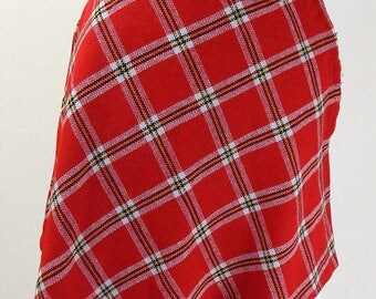 Original 1960s Vintage Red Checked/Plaid Mini Skirt UK Size 8