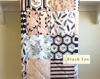 Fox Baby Quilt, Girl Crib Bedding, Modern, Baby Blanket Girl, Woodland, Minky Quilt, Fox Crib Bedding, Gray Pink Black Bedding, Blush Fox