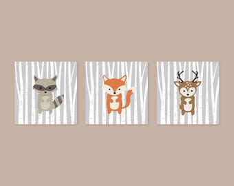 Fox Animal Wall Art, Forest Animals, Woodlands nursery Home Decor, Fox Wall Art Print, Deer Print, Raccoon Print, Baby Boy Gift