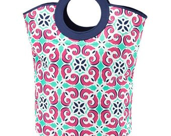 FREE SHIPPING and FREE monogramming - Navy Pink Mint Mia Tile Large Mega Tote Laundry Bag Tote - Great for College and Graduation gift