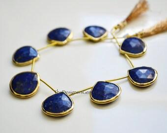 Large Lapis Lazuli Gold Rimmed Beads, Blue Lapis Beads, Bezeled Lapis Lazuli Beads, Gold Bezeled Beads 19x20mm