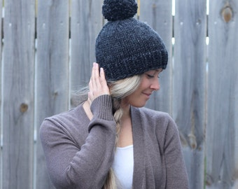 Belle Beanie Woman's Knitted Hat with Pom Pom in Charcoal Grey- Other colors available