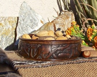 Vintage Ebony Elephant Bowl African Collectable Tribal Carved Wood Bowl World Tour 1930s
