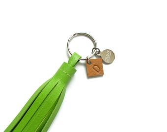 Monogram Leather Tassel Key Chain | Upcycled Leather Fringe Keychain | Personalized Key Tassel | Purse Tassel Charm | Custom Grad Gift