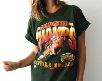 vintage SONICS seattle supersonics Shawn KEMP Gary PAYTON 1996 conference champs shirt t-shirt