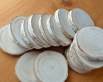 20 Small White Birch Wood Slices, Hand Cut and Sanded Wooden Discs for Crafts, Weddings, and Crafts
