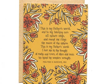 This is My Father's World - Floral Hymn Greeting Card and Envelope, hymn history, Christian sympathy, bereavement card, encouragement card