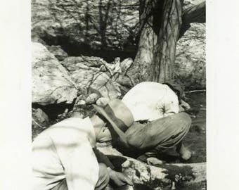 "Vintage Photo ""Afternoon of Gold Panning"" Snapshot Antique Photo Old Black & White Photograph Found Paper Ephemera Vernacular - 134"