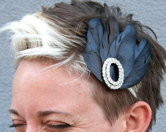Flapper Feather Hairclip with Black Goose Feathers and Vintage Crystal Clip