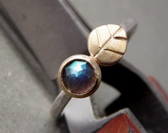 Tiny Leaf Gemstone Ring - Rose Cut Labradorite, 14K Yellow Gold, 14K Recycled Yellow Gold & Sterling Silver Ring, Made to Order