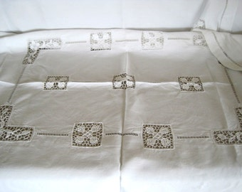 Antique French Pure Linen Tablecloth With Crochet Lace Inserts & Ladderwork Borders All Hand Sewn Stunning